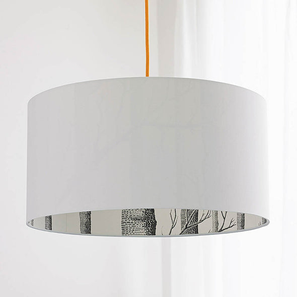 White Lamp Shade with Woodland Lining