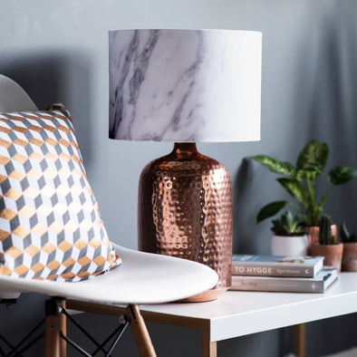 White Marble Effect Lampshade With Brushed Copper Lining