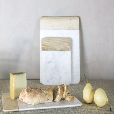 White Marble and Mango Wood Chopping Board