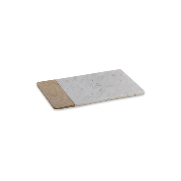 White Marble and Wood Chopping Board