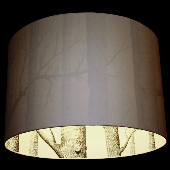 White Silhouette Lampshade with Inner Lining Woodland