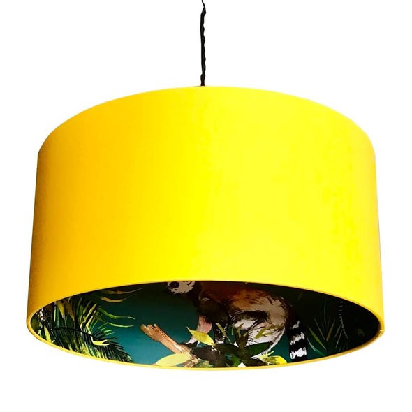 Yellow Lampshade With Lemur Lining