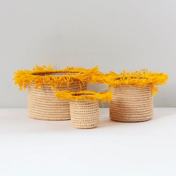 Yellow Tassel Storage Basket Set of 3