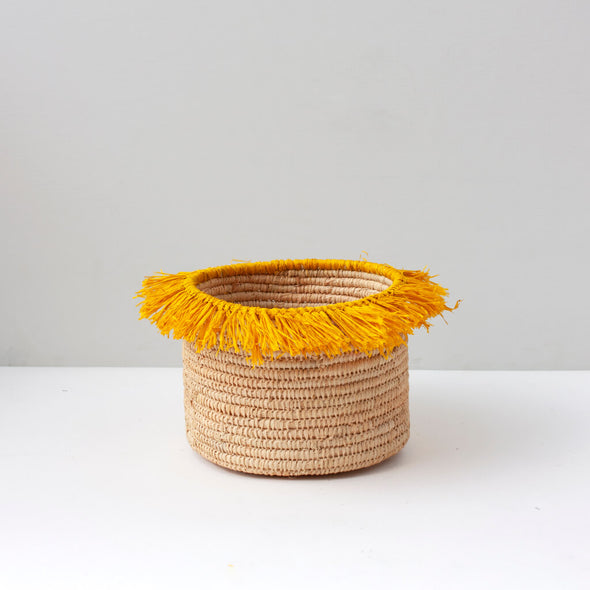 Yellow Tassel Storage Basket