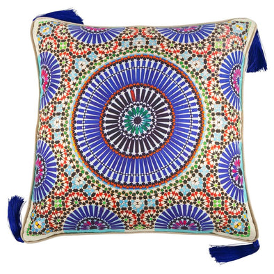 Zellige Indigo Large Silk Cushion