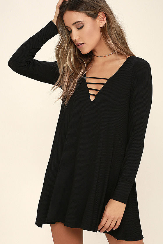 Lucy Love Black Long Sleeve Swing Dress