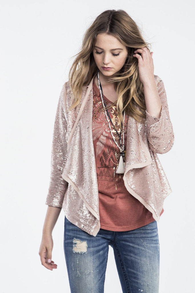 Miss Me Pink Sequins Jacket MdJ296L - Chelsea Street Boutique
