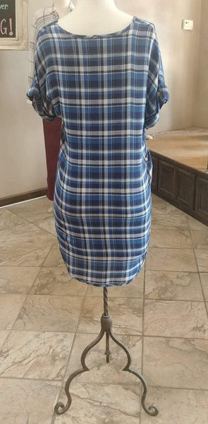 Lucy Love Blue Checkered V-Neck Tunic