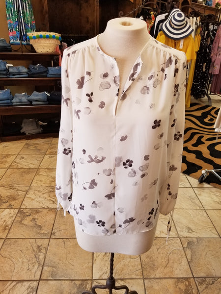 GC Sheer White and Floral Stamp Blouse