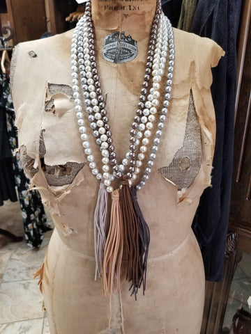 GC pearl and suede fringe necklace