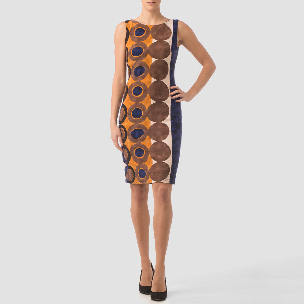 Joseph Ribkoff 163719 Beige/Navy/Rust circle print dress - Chelsea Street Boutique