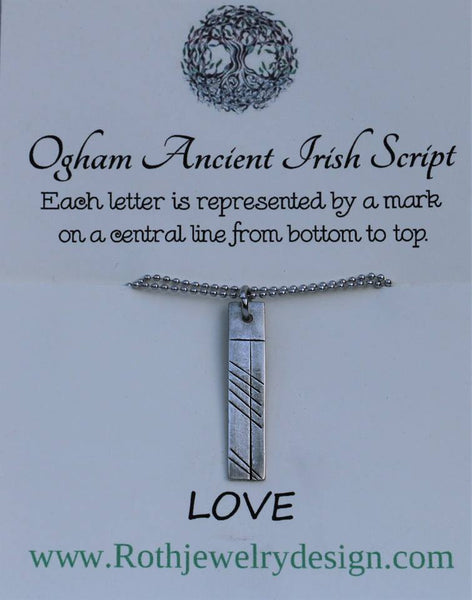 Ogham Ancient Irish Script Mhamo Grandmother Inspirational Mantra Necklace