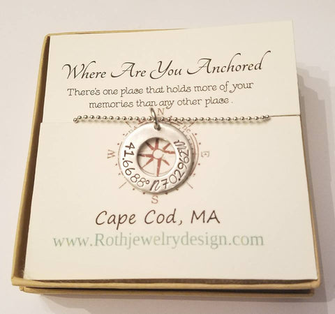 Lat Long Cape Cod Coordinates Necklace