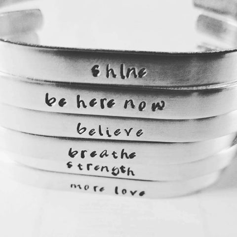 Personalized Inspirational Message Mantra Cuff Band Bracelet