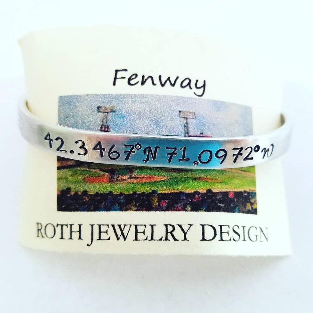 Boston Red Sox Fan Bracelet  Fenway Park Coordinates Mantra Cuff Bracelet