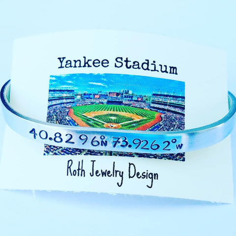 New York Yankees Baseball Stadium Coordinates Mantra Bracelet