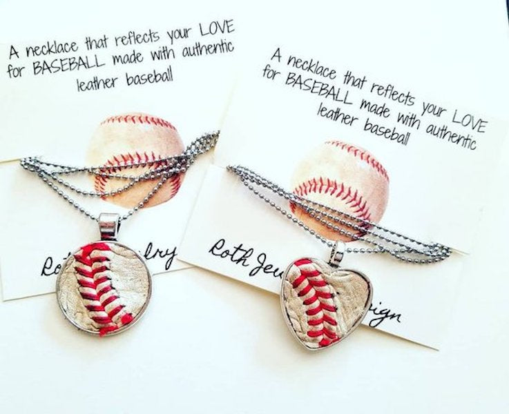 Real Baseball Necklace  Genuine Baseball Softball Pendant Baseball Mom Necklace Personalized Jersey Number Necklace
