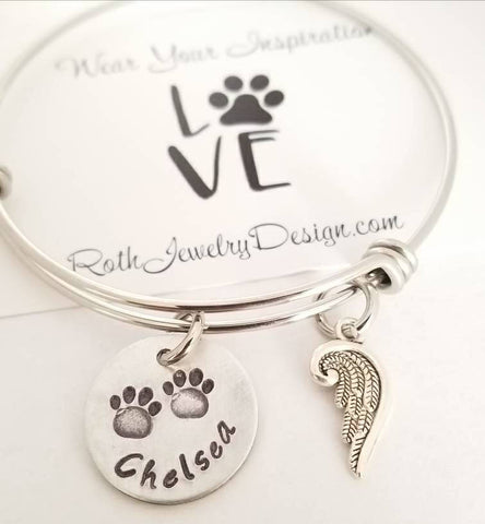 Paw Prints On My Heart Angel Wing Dog Memorial Bracelet Pet Memorial Jewelry Dog Mom gift