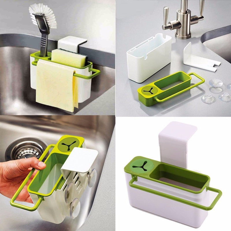 Anti Bacterial Plastic Kitchen Sink Caddy Organizer Sponge Holder Rack Green White