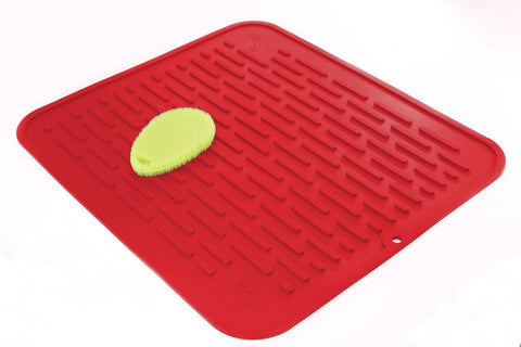 "Red Silicone Dish Mat & Trivet 17.8"" x 15.8"""