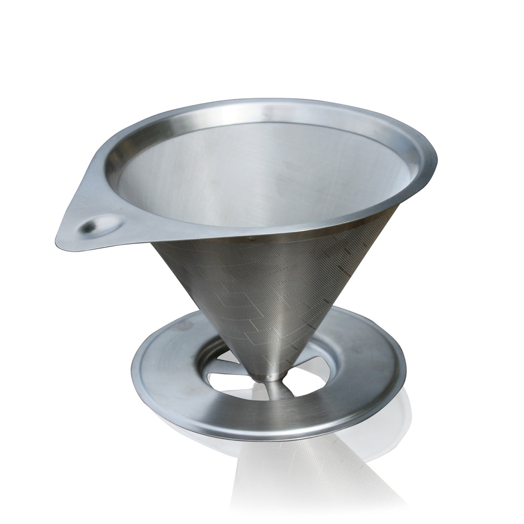 Pour Over Two Stage Stainless Steel Coffee Filter With Base - Paperless & Reusable - Permanent Coffee Dripper for 1-4 Cups