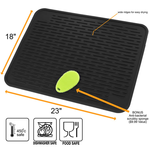 "XXL Silicone Dish Mat with Silicone Sponge 23"" x 18"""