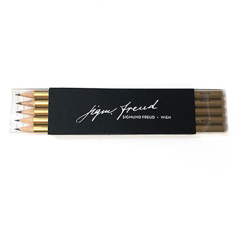 Bleistift Sigmund Freud gold 5-er Set