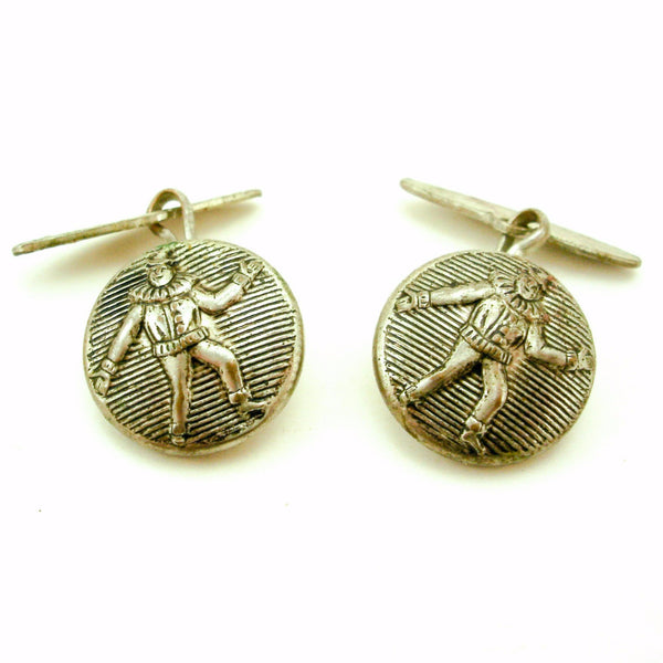 1930s Deco Clown Cufflinks Mens Vintage Art Deco Era Silver Plated Brass Cufflink Set with Harlequin Clown Designs