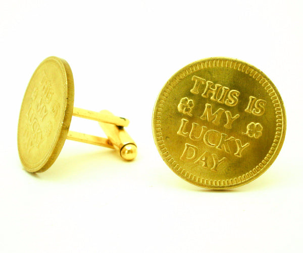 1 Pair My Lucky Day Cufflinks Made with 1970s Vintage Gold Tone Metal Las Vegas Casino Slot Machine Tokens