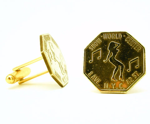 1 Pair Mens Vintage Peepshow Cufflinks Gold Tone Metal Cufflink Set Made of Peep Show Tokens from Show World Center Times Square, New York City
