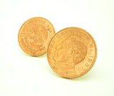 1967 Mexican Coin Cufflinks Mens Copper Tone Coin Cufflink Set made from Vintage 10 Centavos Coins from The United States of Mexico