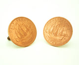 1964 British Coin Cufflinks Mens Copper Tone Coin Cufflink Set made from Genuine Vintage 1/2 Penny Coins from Great Britain