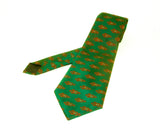 1970s Wide Green Polyester Tie Mens Vintage Disco Era 70s Textured Polyester Super Wide Necktie with woven abstract designs