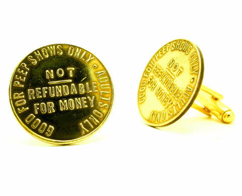 1 Pair Vintage Peepshow Cufflinks Gold Tone Metal Mens Cufflink Set Made of 1970s Vintage Brass Peep Show Tokens