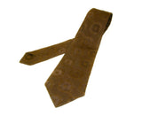 1970s Brown Textured Polyester Tie Mens Vintage Disco Era Necktie