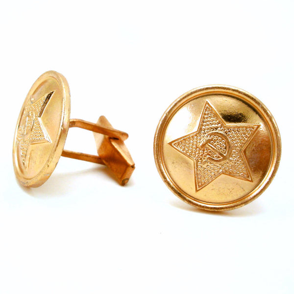 1 Pair Vintage Soviet Cufflinks Made with Genuine USSR Copper Russian Army Uniform Buttons