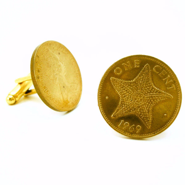 1969 Bahamas Coin Cufflinks Mens Gold Tone Coin Cufflink Set made from Vintage One Cent Coins with Starfish design from Bahama Islands