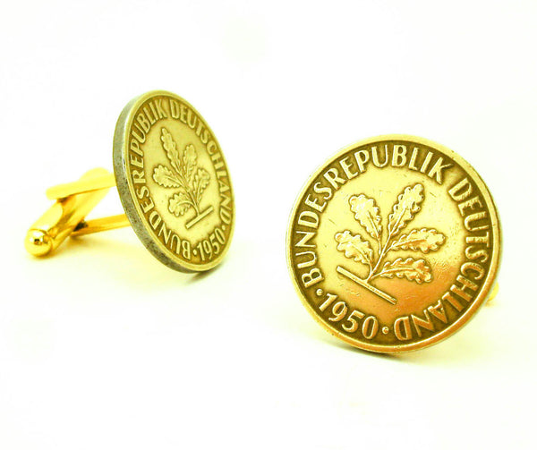1950 German Coin Cufflinks Mens Gold Tone Cufflink set made from Genuine Vintage 10 Pfennig Coins from The Federal Republic of Germany