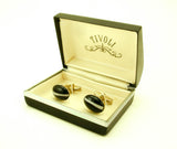 1940s Glass Cufflinks Mens Vintage Gold Tone Cufflink Set with Oval Cat's Eye Marble Type Plum Color Glass Stones