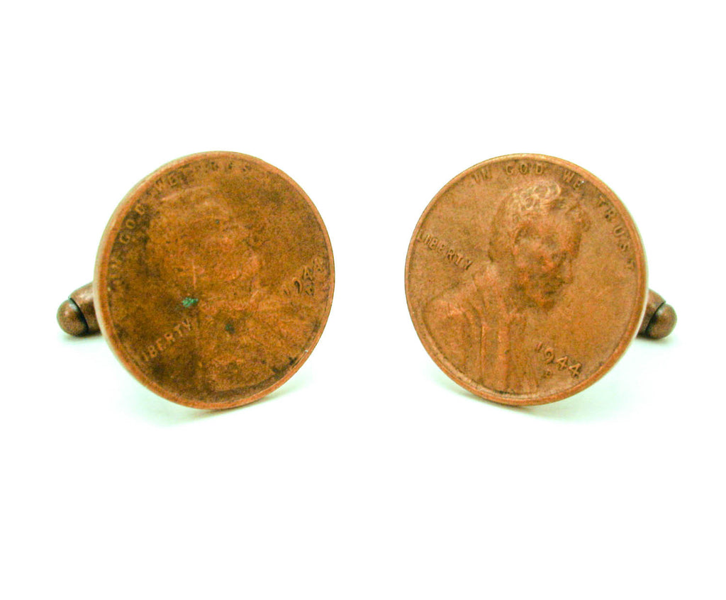 1944 US Wheat Penny Cufflinks Mens Copper Tone Coin Cufflink Set made from  Vintage Lincoln One Cent Coins from The United States of America