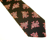 1970s Wide Silk Paisley Tie Mens Vintage Black Necktie with Silver & Pink Paisley Designs Morris' Ithaca New York