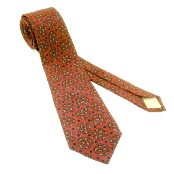 1970s Silk Fumagalli's Tie Mens Vintage Pure Silk Burgundy or Maroon Red Necktie with Abstract Designs Made in Spain