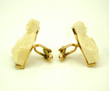 1950s SWANK Buddha Cuff Links Mens Vintage Carved Ivory Look Gold Tone Metal Cufflink Set