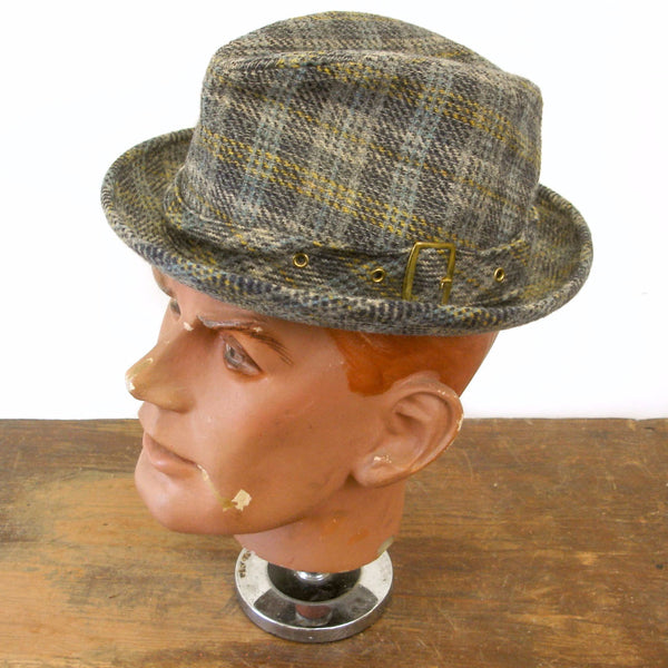 90034cfc25a21 1970s Vintage Mens STETSON Wool Plaid Fedora Hat - SIZE 7 – The Naked Man