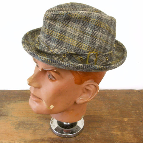 1970s Vintage Mens STETSON Wool Plaid Fedora Hat - SIZE 7
