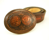 1970s Leather Belt Buckle Mens Vintage Cowboy Western Belt Buckle with tooled Buffalo Indian Head nickel 1930 design