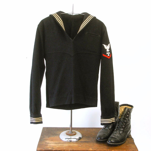 1940s Vintage U.S. Navy Uniform Top, WWII era Navy Blue Wool Petty Officer Third Class Machinist Cracker Jack Sailor Suit - Size SMALL