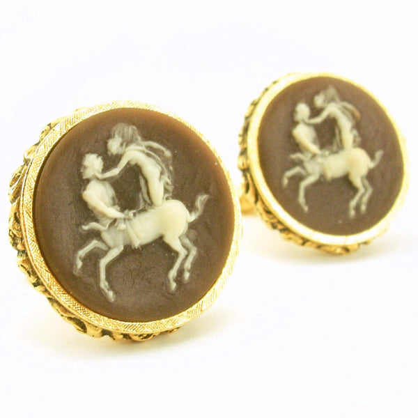 1960s DANTE Cameo Cufflinks Mad Men Era Mens Vintage Gold Tone Cufflink Set with Huge Brown & White Centaur and Nymph Cameo by Dante
