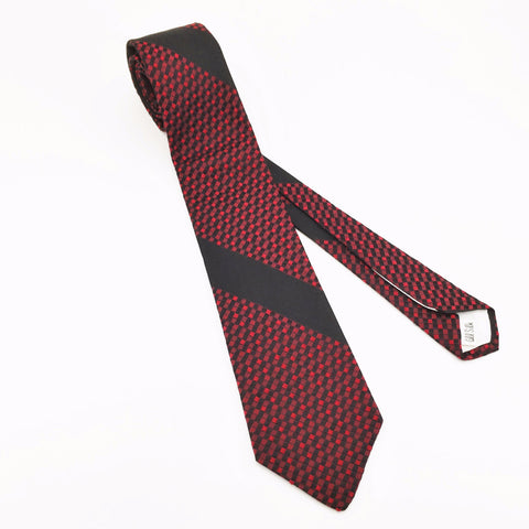 1950s Silk Skinny Tie Vintage Mad Men Era Red & Black All Silk Skinny Necktie with Checkerboard Designs from Woolf Brothers
