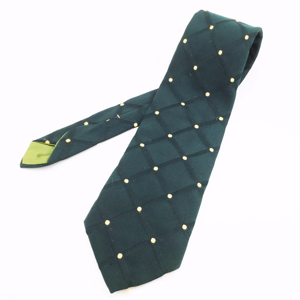 1970s Wide Green Tie Mens Vintage Disco Era Knit Polyester Necktie with Plaid & Polka Dot Designs with Wemlon by Wembley